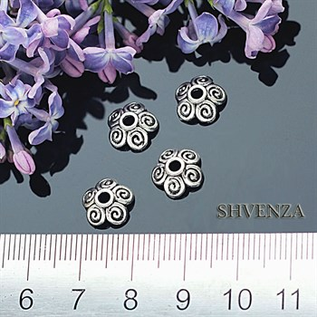 Шапочки для бусин цвет - серебро 001-001 - фото 4535