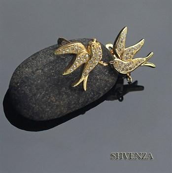 Швензы родиевое покрытие цвет золото английский замок 013-014 - фото 4911