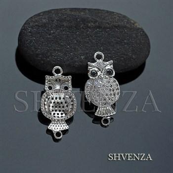 Коннектор сова цвет - серебро 021-091 - фото 7204
