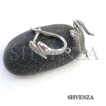 Швензы родиевое покрытие цвет серебро английский замок 014-217 - фото 7408
