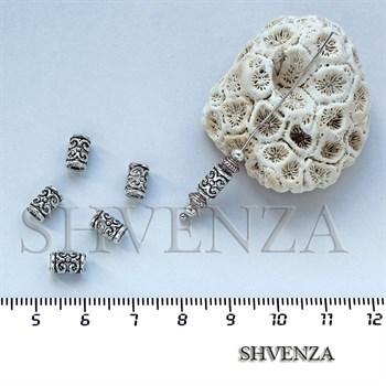 Металлические бусины трубочки цвет серебро 007-022 - фото 7518