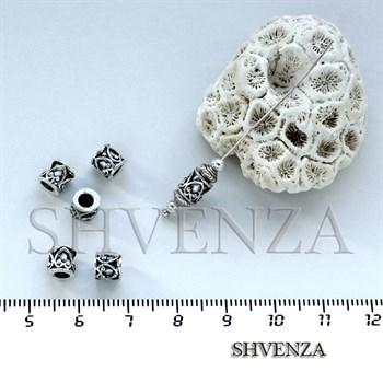 Металлические бусины трубочки цвет античное серебро 007-024 - фото 7522