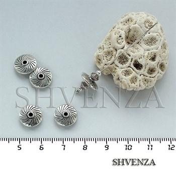 Металлические бусины рондели цвет серебро 007-026 - фото 7527
