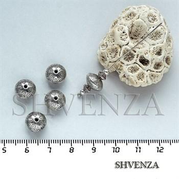 Металлические бусины рондели цвет серебро 007-030 - фото 7536