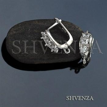 Швензы родиевое покрытие английский замок цвет серебро 014-229 - фото 7646