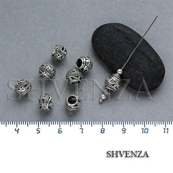 Металлические бусины цвет античное серебро 007-051 - фото 7696