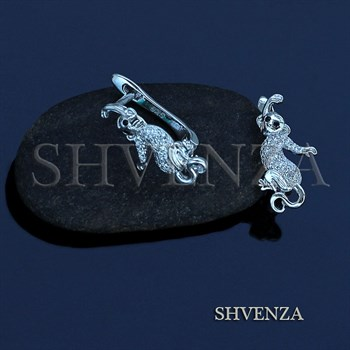 Швензы Обезьянки родиевое покрытие английский замок цвет серебро 014-235 - фото 7787