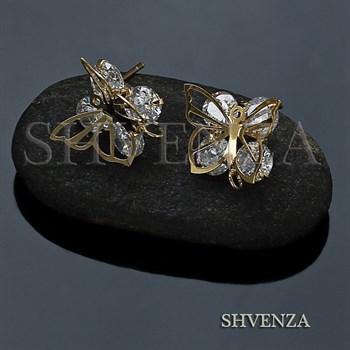Пуссеты - гвоздики бабочки цвет золото 004-061 - фото 7809