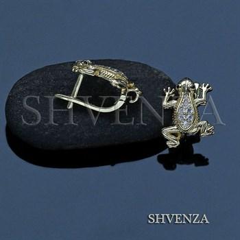 Швензы лягушки родиевое покрытие английский замок цвет золото 013-152 - фото 7961