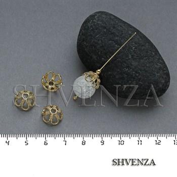 Шапочки для бусин родиевое покрытие цвет золото 021-131 - фото 8106