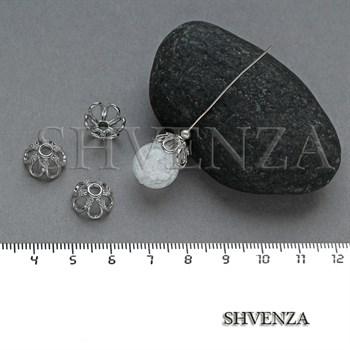 Шапочки для бусин родиевое покрытие цвет серебро 021-132 - фото 8108