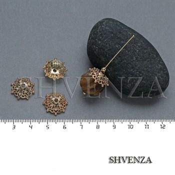 Шапочки для бусин родиевое покрытие цвет золото 021-133 - фото 8110