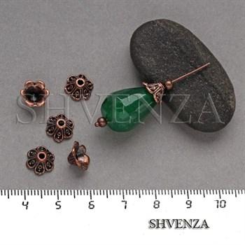 Шапочки для бусин цвет медь 001-123 - фото 8139