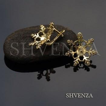 Швензы Снежинки родиевое покрытие цвет золото английский замок 013-155 - фото 8187