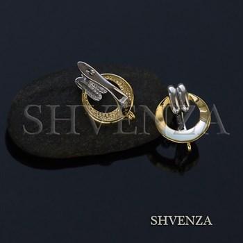 Швензы родиевое покрытие цвет серебро и золото  английский замок 017-098 - фото 8191