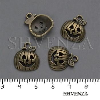 Подвеска металлическая Тыква Хэллоуин цвет бронза 005-025 - фото 8238