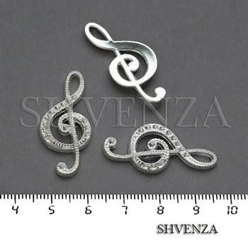 Подвеска металлическая Скрипичный ключ цвет серебристый 005-037 - фото 8264