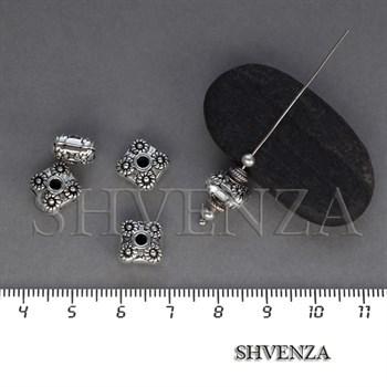 Металлические бусины рондели цвет античное серебро 007-106 - фото 8423
