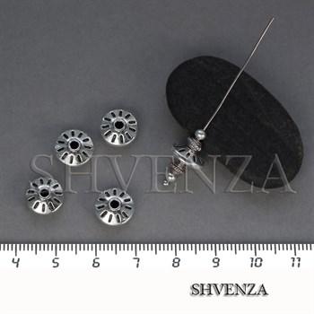 Металлические бусины рондели цвет античное серебро 007-114 - фото 8439