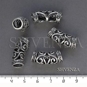 Металлические бусины трубочки ажурные цвет античное серебро 007-118 - фото 8453
