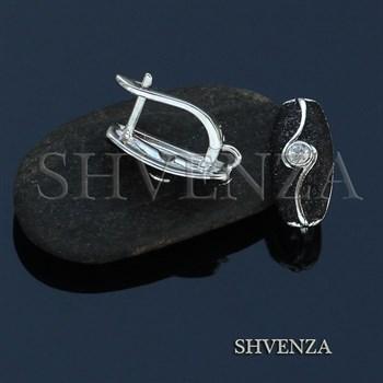 Швензы родиевое покрытие цвет серебро английский замок 014-272 - фото 8475