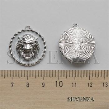 Подвеска Лев цвет серебро с белой эмалью 021-136 - фото 8557