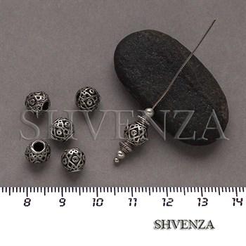 Металлические бусины цвет античное серебро 007-127 - фото 8631