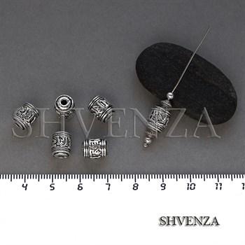 Металлические бусины цилиндр цвет античное серебро 007-134 - фото 8647