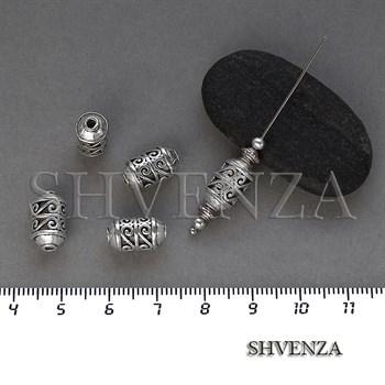 Металлические бусины цилиндр цвет античное серебро 007-135 - фото 8649