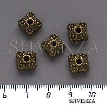 Металлические бусины рондели цвет бронза 007-140 - фото 8663