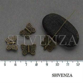 Металлические бусины бабочки цвет бронза 007-149 - фото 8682