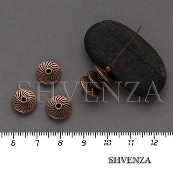 Металлические бусины рондели цвет медь 007-154 - фото 8716