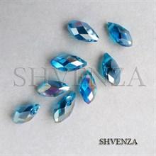 Бусины голубые капли стекло 008-012