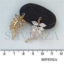 Коннектор - листочек цвет золото 021-107