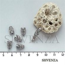 Металлические бусины сова цвет серебро 007-018