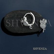 Швензы совы родиевое покрытие цвет серебро колечки 014-225