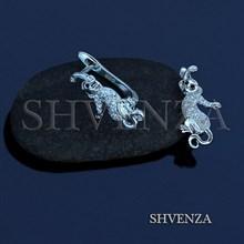 Швензы Обезьянки родиевое покрытие английский замок цвет серебро 014-235