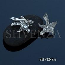 Швензы родиевое покрытие английский замок цвет серебро 014-260
