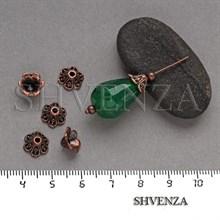 Шапочки для бусин цвет медь 001-123