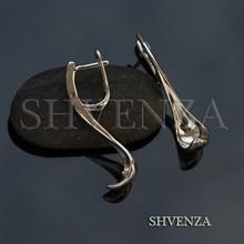 Швензы родиевое покрытие цвет серебро английский замок 017-095