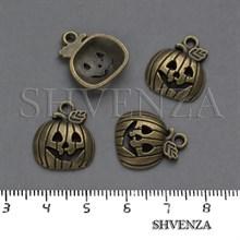 Подвеска металлическая Тыква Хэллоуин цвет бронза 005-025