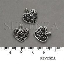 Подвеска металлическая Сердце цвет серебро 005-029