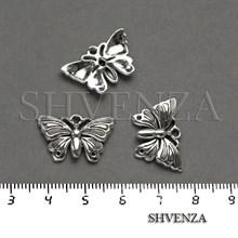 Подвеска металлическая Бабочка цвет серебро 005-031