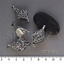 Бейл держатель кулона под вклейку цвет античное серебро 018-040
