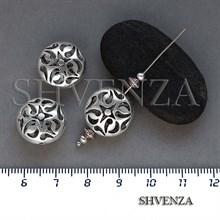 Металлические бусины ажурные цвет античное серебро 007-138