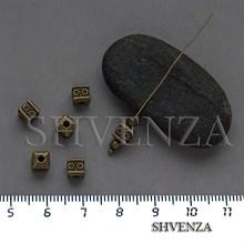 Металлические бусины кубики цвет бронза 007-148