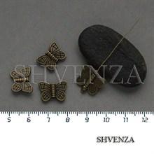 Металлические бусины бабочки цвет бронза 007-149