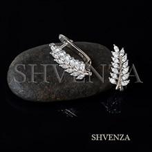 Швензы Листочки родиевое покрытие цвет серебро английский замок 014-275