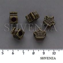 Металлические бусины Корона в стиле Пандора крупные цвет бронза 007-156