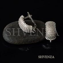 Швензы родиевое покрытие цвет серебро английский замок 017-152